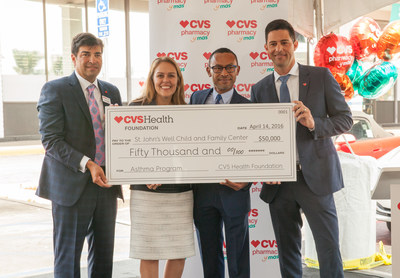 As part of the CVS Pharmacy y mas grand opening ceremony, the CVS Health Foundation presented a $50,000 grant to St. John's Well Child and Family Center to support underserved pediatric asthma patients in South Los Angeles.
