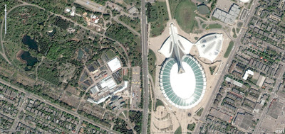 Olympic stadium and Botanical Garden in Montreal, Canada.  (PRNewsFoto/Esri)