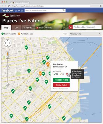 New OpenTable Facebook app for timeline enables diners to share their dining history and recommendations. (PRNewsFoto/OpenTable) (PRNewsFoto/OPENTABLE)