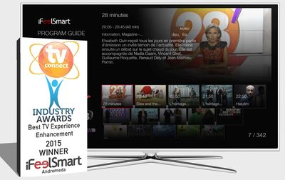 iFeelSmart's interface awarded best TV Experience Enhancement at TV Connect 2015. (PRNewsFoto/iFeelSmart)