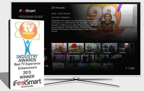 iFeelSmart's interface awarded best TV Experience Enhancement at TV Connect 2015. (PRNewsFoto/iFeelSmart)