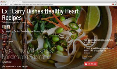 "Flipboard magazine with healthy heart recipes curated by Larry King Cardiac Foundation is part of Flipboard's new ""Big Ideas"" section.  (PRNewsFoto/Flipboard)"
