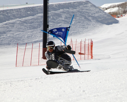 Arly Velasquez competes in the National Ability Center's IPC US Alpine Nationals in March of 2013 at Park ...