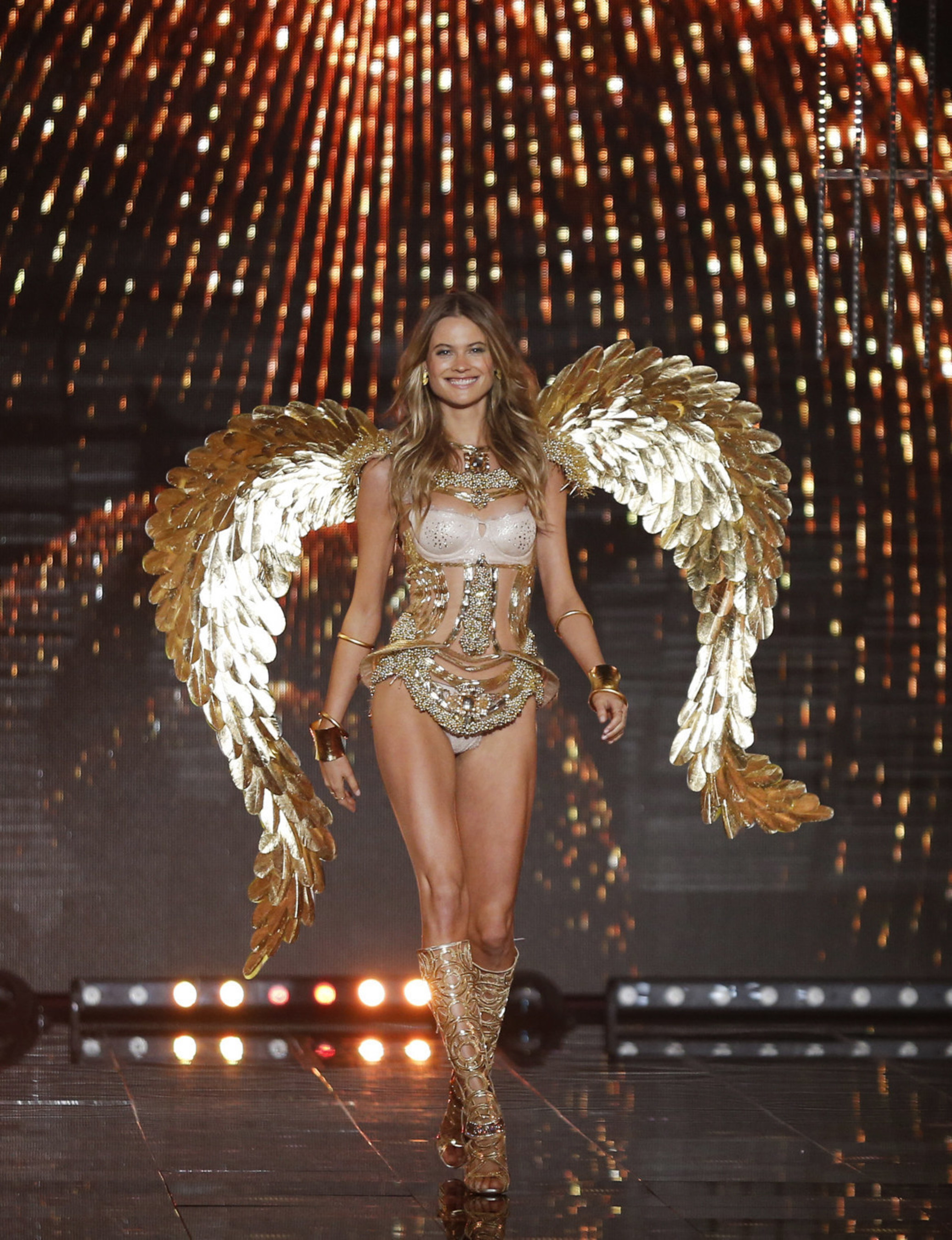 Behati Prinsloo walks the runway at the 19th annual Victoria's Secret Fashion Show in London on December 2nd, 2014.