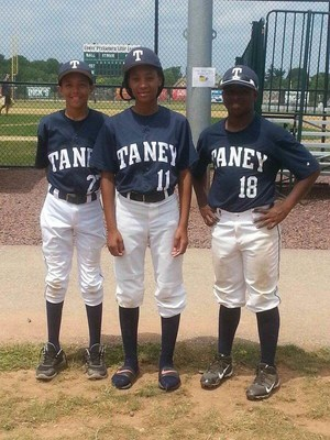 Taney Dragons and SCH Academy students Scott Bandura, Mo'ne Davis, and Jahli Hendricks