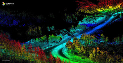 The Sanborn Map Company, Inc. collected this high-resolution mobile light detection and ranging (LiDAR) image of a corridor in Glacier National Park. Sanborn collected more than 40 miles of LiDAR imagery in Glacier and Yellowstone national parks for the analysis, planning and engineering of critically needed road resurfacing.