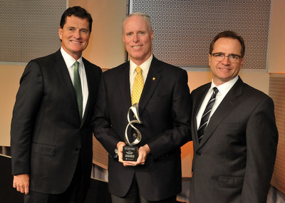 Featured from left-to-right: Patrick T. Ryan, CEO of Press Ganey; Chris Van Gorder, President & CEO of Scripps Health and winner of the 2013 Press Ganey Innovation Award; and, Joe Greskoviak, President & COO of Press Ganey. (PRNewsFoto/Press Ganey Associates, Inc.) (PRNewsFoto/PRESS GANEY ASSOCIATES, INC.)