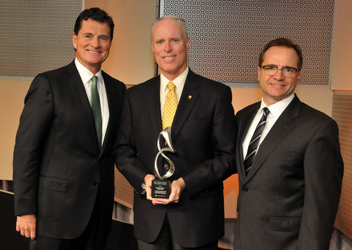 Featured from left-to-right: Patrick T. Ryan, CEO of Press Ganey; Chris Van Gorder, President & CEO of Scripps ...