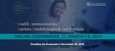The University of Illinois' Health Communication Online Master of Science (HCOM) program will host a state-of-the-art, 100 percent online conference, titled: Health Communication Barriers, Breakthroughs, and Best Practices (HCB3), March 1-3, 2017, and has issued a call for presentations from academics and professionals engaged in health communication.