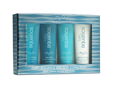 -Bath Aquatics Escape Collection- Soften and renew your skin with these moisture-rich bath essentials, fortified with nourishing marine botanicals and calming natural spring scent