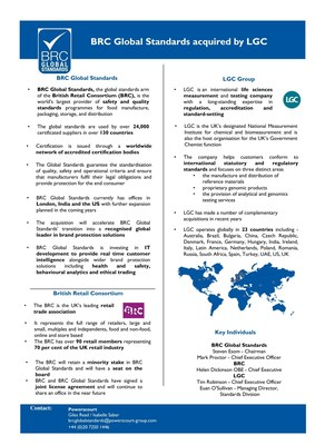 LGC Acquires BRC Global Standards