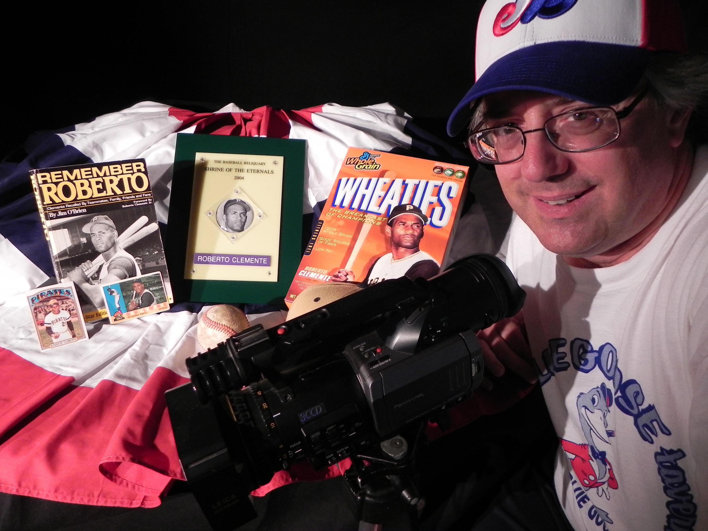 Producer/director Jon Leonoudakis prepares for an insert shot featuring Pittsburgh Pirates great Roberto Clemente. (PRNewsFoto/Jon Leonoudakis) (PRNewsFoto/JON LEONOUDAKIS)