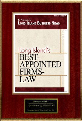"Badanes Law Office Selected For ""Long Island's Best-Appointed Firms - Law"".  (PRNewsFoto/Badanes Law Office)"