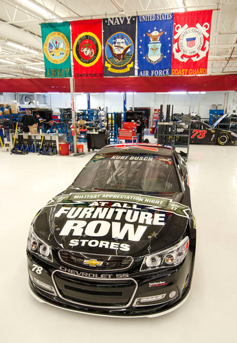 The hood as well as rear quarter panels of Kurt Busch's #78 Furniture Row Chevrolet will carry a message that will honor military members in observance of Armed Forces Day.  (PRNewsFoto/Furniture Row Companies)
