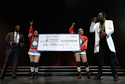 "Sean ""Diddy"" Combs presents his Alma Matter Howard University's President Wayne A.I. Frederick, M.D., MBA with one million dollar check at the Puff Daddy and Bad Boy Family Reunion Tour in Washington D.C Verizon Center on September 22, 2016."