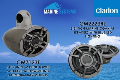Clarion CM7123T and CM2223RL 8.8-Inch Coaxial speakers with blue LED lighting
