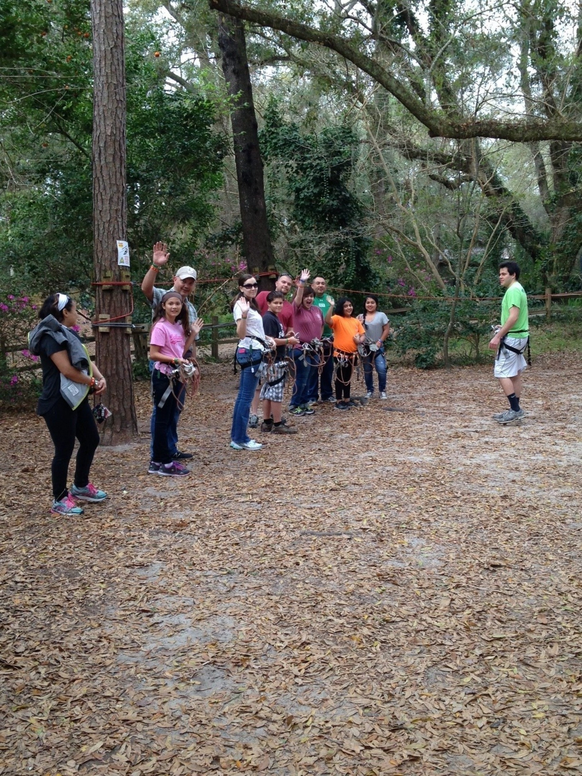 Wounded veterans and their families prepare to zip line at Tallahassee Museum.