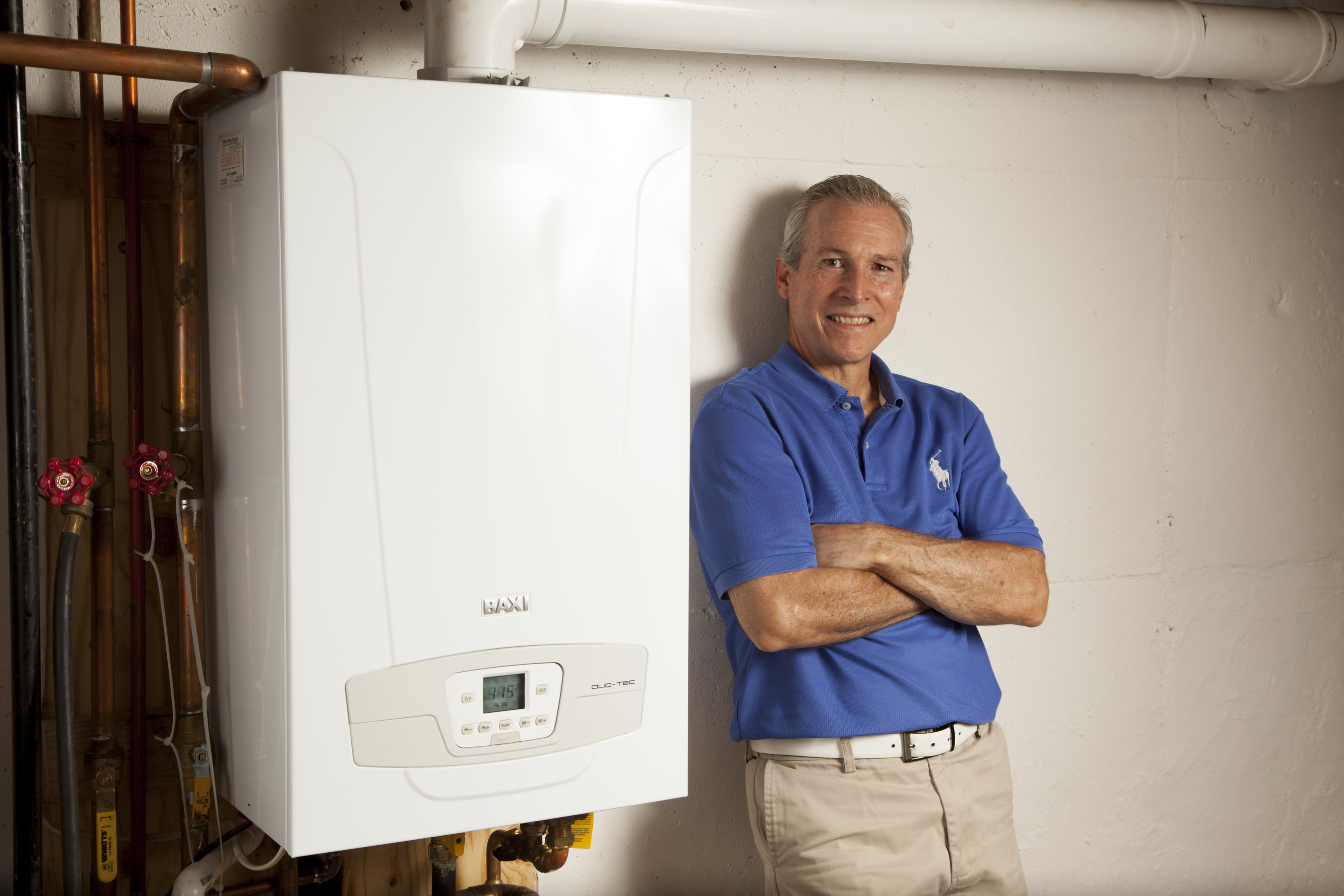 Long Island resident Bobby Brown says his high efficiency Baxi gas boiler is saving him 70 percent a year in fuel bills (PRNewsFoto/Baxi)