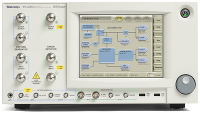 Tektronix BSA286CL BERTScope Bit Error Rate Tester.  The BSA286CL is designed for the low intrinsic jitter and precision impairments required for testing a broad set of 100G communications standards including OIF-CEI, CAUI, and InfiniBand Standards.