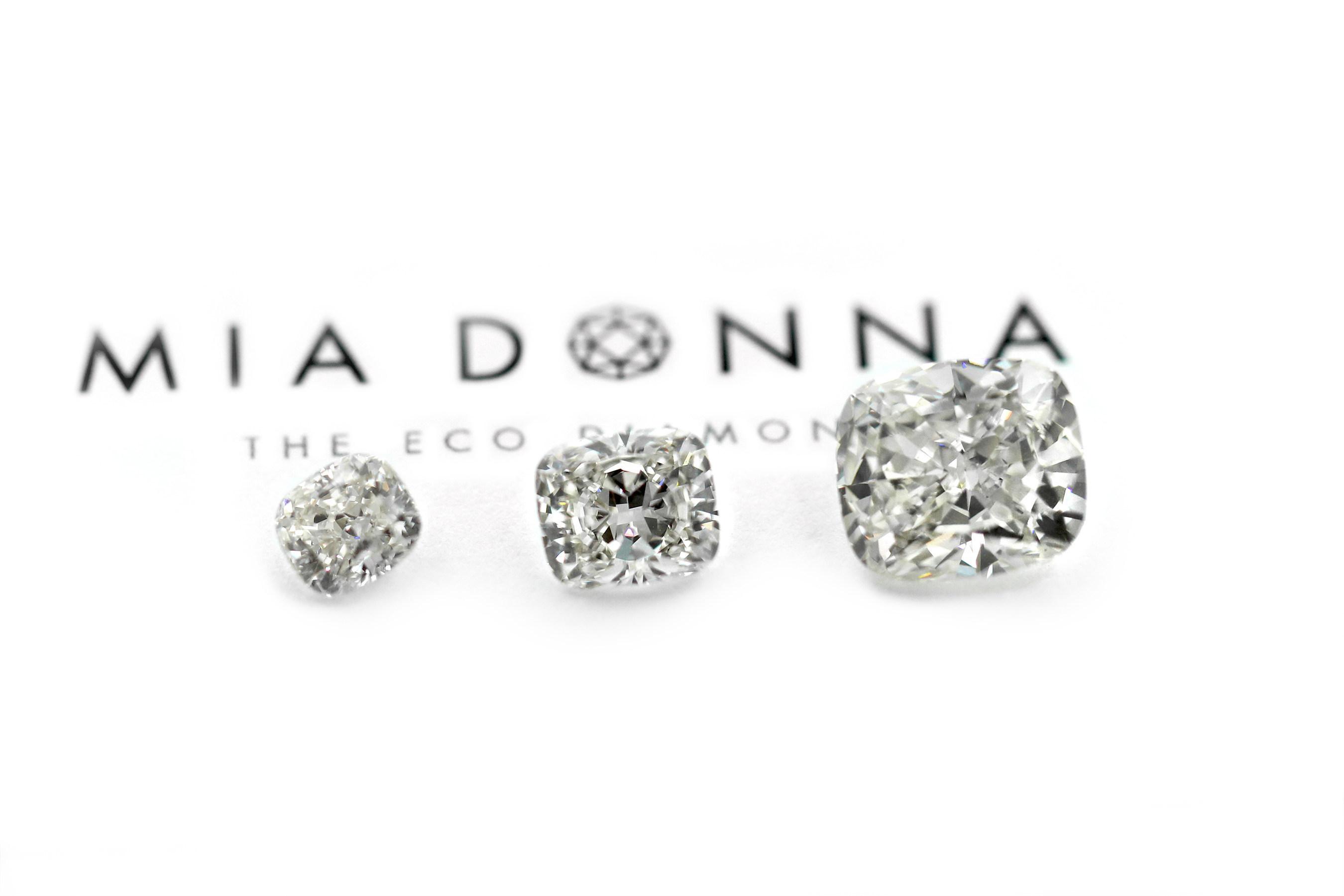 6.28 Carat MiaDonna & Company Largest Grown-in-the-USA Laboratory Diamond, next to 3 carat and 2 carat stones