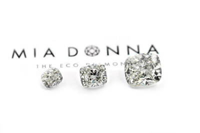 6.28 Carat MiaDonna & Company Largest Grown-in-the-USA Laboratory Diamond, next to 3 carat and 2 carat stones