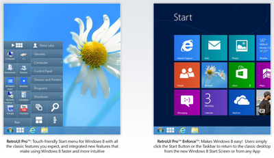 Thinix RetroUI brings back the Start Menu in Windows 8 and lets you run the new Start screen and Windows 8 (Metro) Apps on the Desktop with the Taskbar visible.  Download today from www.RetroUI.com.  (PRNewsFoto/Thinix)