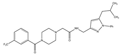CAS Registry Number 1411769-41-9; N-[[5-(2-methylpropyl)-1-phenyl-1H-pyrazol-3-yl]methyl]- 4-[3-(trifluoromethyl)benzoyl]- 1-piperazineacetamide.  (PRNewsFoto/Chemical Abstracts Service (CAS))