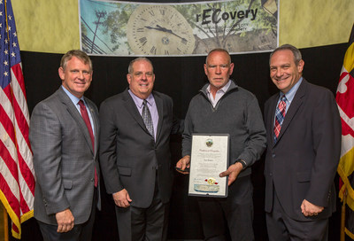 Photo, October 27, 2016. Left to Right: Howard Council Executive Allan Kittleman, Maryland Governor Larry Hogan, Don Reuwer (receiving the award) and Howard County Councilman Jon Weinstein.