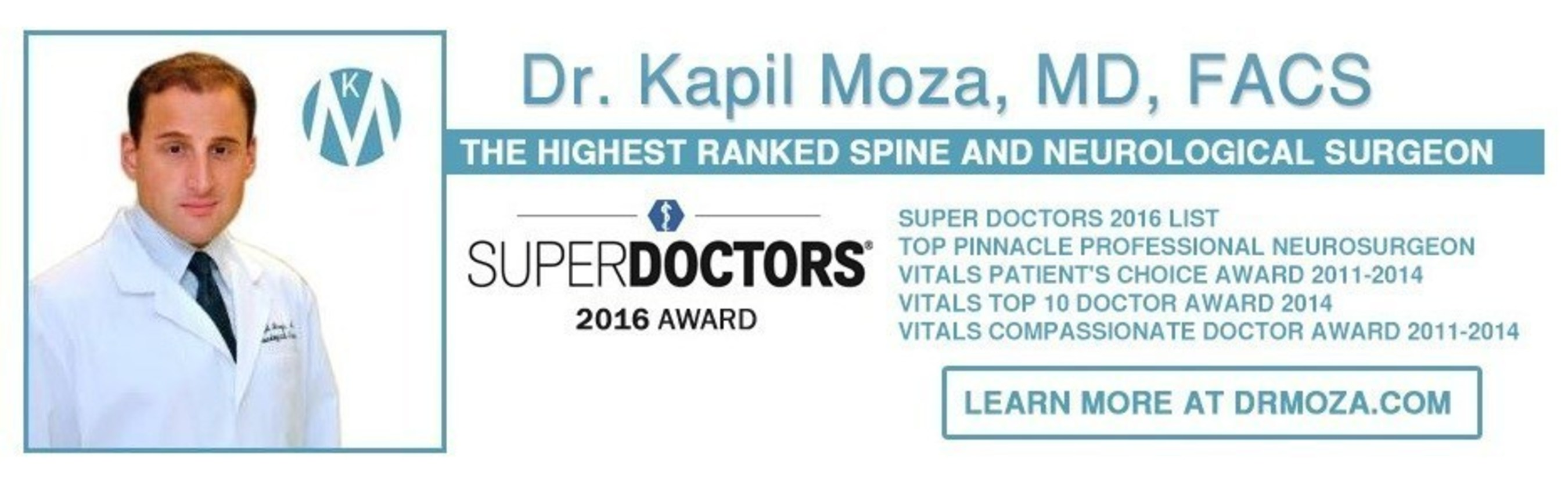 Dr. Kapil Moza of Thousand Oaks, CA has made the prestigious Southern California Super Doctors List for 2016.