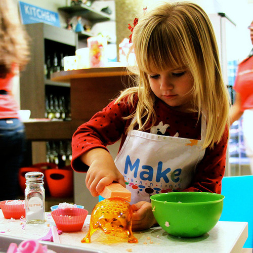 Child works on a soap at Make Meaning. (PRNewsFoto/Make Meaning) (PRNewsFoto/MAKE MEANING)
