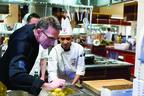 S. Pellegrino Almost Famous Chef Competition judge, Rick Moonen, mentors a culinary student competitor preparing for the Finals competition in Napa Valley, Calif.