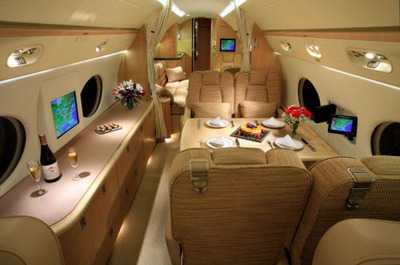 Interior of the Gulfstream V.  (PRNewsFoto/XOJET)