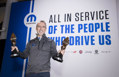 "Pietro Gorlier, Head of Parts and Service (Mopar), FCA - Global, accepted Specialty Equipment Market Association (SEMA) Awards for a pair of popular FCA US LLC vehicles at the annual event today. The Jeep(R) Wrangler was named the ""Hottest 4x4 SUV"" for the seventh consecutive year and the Dodge Charger won the inaugural ""Hottest Sedan"" honors. Mopar displayed 14 customized Mopar rides and hundreds of Mopar accessory products at the company's SEMA exhibit."
