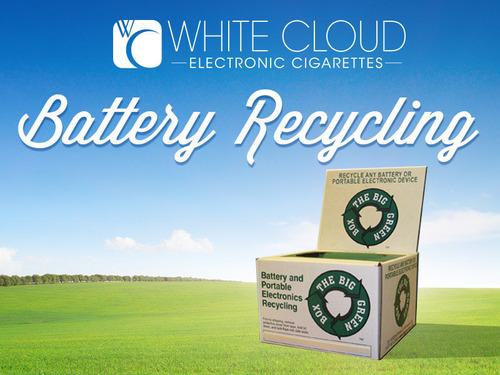 White Cloud Electronic Cigarette Battery Recycling. (PRNewsFoto/White Cloud Electronic Cigarettes) (PRNewsFoto/WHITE CLOUD ELECTRONIC CIG...)