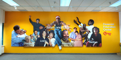 """This mural graces the wall of Key's Financial Education Center, located next to a branch in Cleveland, Ohio. Through the Center, Key's free """"Learn and Earn"""" curriculum is offered to local residents and includes classes on budgeting, credit, credit repair, saving, and home ownership."""