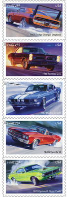 Raw power has a stamp of its own today as seven-time NASCAR National Champion Richard Petty helps dedicate the America on the Move: Muscle Cars Forever stamps. Typically equipped with big, powerful engines, these high-performance vehicles began roaring across America in the 1960s. The limited edition stamps feature five iconic muscle cars: the '66 Pontiac GTO, the '67 Shelby GT-500, the '69 Dodge Charger Daytona, the '70 Plymouth Hemi 'Cuda and the '70 Chevelle SS. They're available at Post Offices, usps.com/stamps or by calling 800-STAMP-24.  (PRNewsFoto/U.S. Postal Service)