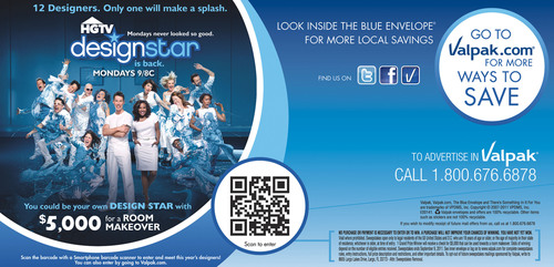 """HGTV Design Star"" and QR code featured on Valpak Blue Envelope.  (PRNewsFoto/Valpak)"