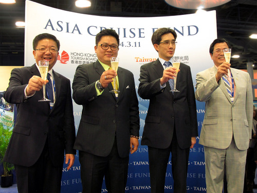 From left to right: Anthony Lau, Executive Director of Hong Kong Tourism Board; Wayne Hsi-Lin Liu, Deputy Director-General of the Taiwan Tourism Bureau; Philip Yung, Commissioner for Tourism of the Hong Kong Special Administrative Region Government; and Thomas Chang, Director, U.S., Taiwan Tourism Bureau toasts the launch of the Asia Cruise Fund at the 2014 Cruise Shipping Miami on March 11th, 2014. (PRNewsFoto/Hong Kong Tourism Board)