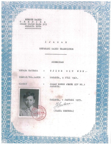 Dr. Sehat Sutardja's Radio Repair Technician Certificate at age 13.  (PRNewsFoto/Marvell)