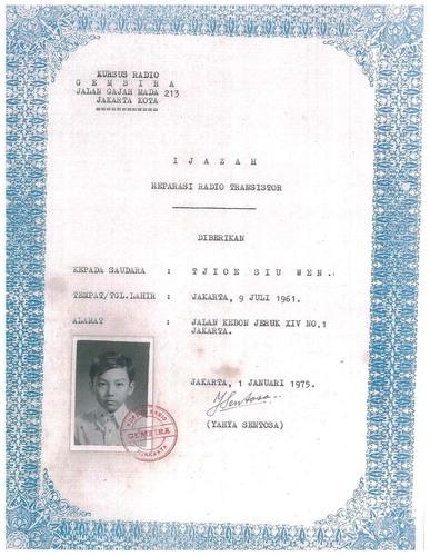 Dr. Sehat Sutardja's Radio Repair Technician Certificate at age 13. (PRNewsFoto/Marvell) (PRNewsFoto/MARVELL)