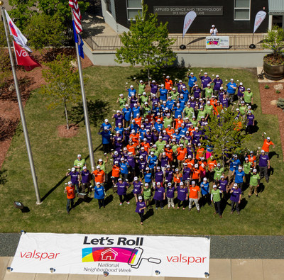 Employees from Valspar and Twin Cities Habitat for Humanity gather at Valspar's headquarters in downtown Minneapolis to celebrate the start of Valspar's National Neighborhood Week, May 9 - 14, 2016. Nationwide, more than 500 employees from Valspar's 30 U.S. locations are volunteering with Habitat organizations during National Neighborhood Week. In addition to volunteers, Valspar is providing $2.5 million in cash and product donations to support 51 Habitat organizations.