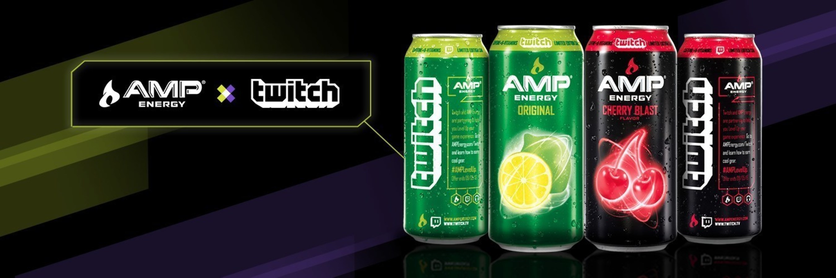 AMP Energy and Twitch launch an exclusive partnership, featuring limited-edition AMP Energy + Twitch co-branded cans and a national sweepstakes for a chance to win a trip to TwitchCon and exclusive gear.