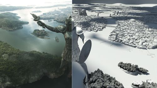 """The """"Game of Thrones"""" city of Braavos, which can be seen for the first time this season was created as an elaborate full CG digital environment by Mackevision, Germany (Stuttgart) (PRNewsFoto/Mackevision Medien Design GmbH)"""