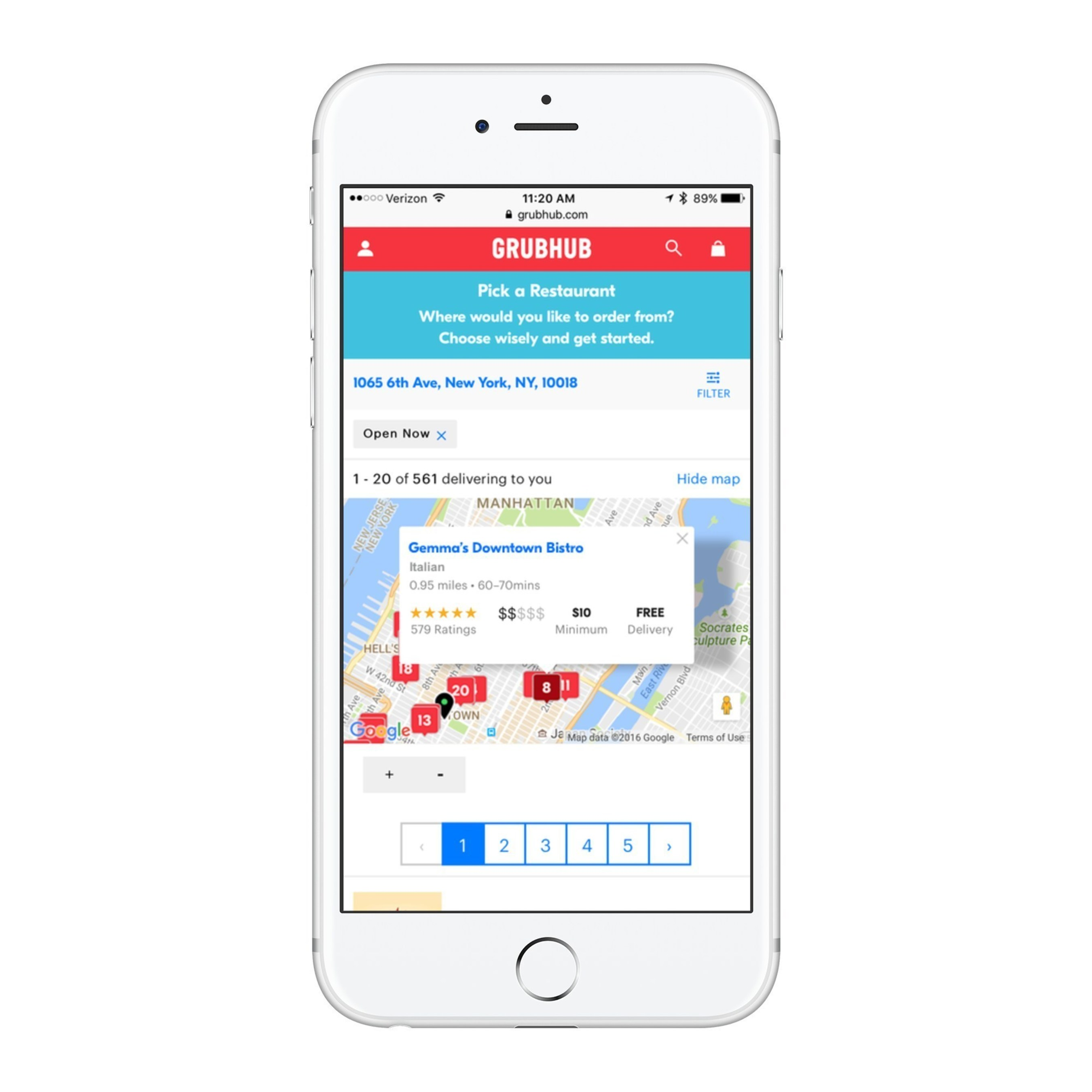 Map Based Search Feature on Grubhub Mobile Web