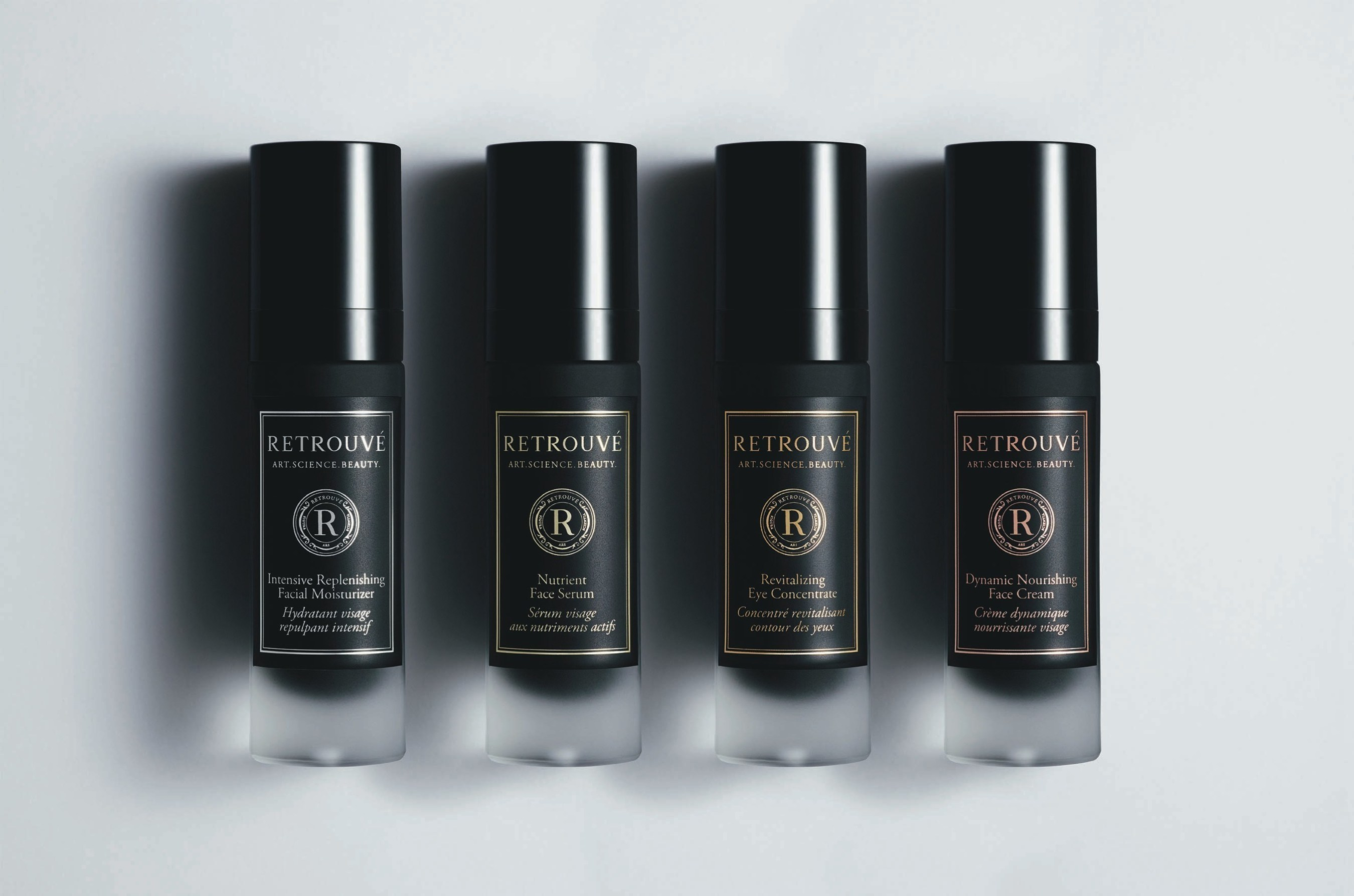 The Retrouve Collection (from left to right): Intensive Replenishing Facial Moisturizer, Nutrient Face Serum, Revitalizing Eye Concentrate, Dynamic Nourishing Face Cream