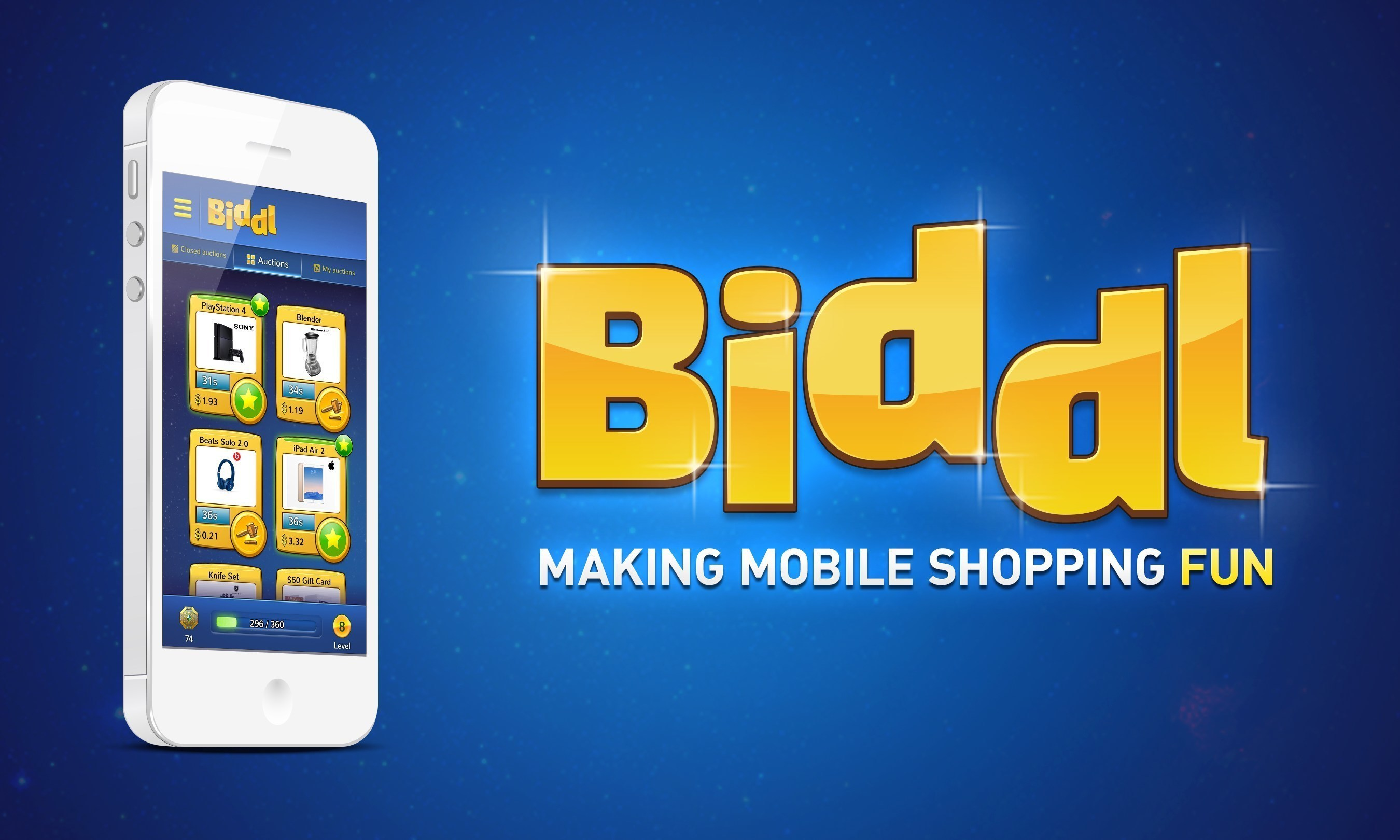 Biddl, the first mobile-only shopping game, aims to make mobile shopping fun by combining mobile game mechanics with easy-to-use shopping features. The result: Biddl allows you to make direct purchases, bid on auctions, hunt for bargains, and play a fun mobile game at the same time wherever you are. Biddl is available for free in the iOS App Store and Google Play Store today.
