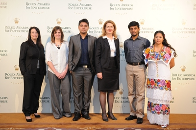 Rebecca Irvin (fourth from left) - Head of Philanthropy at Rolex with the Rolex Young Laureates 2012