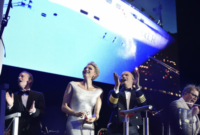 Regent Seven Seas Cruises President and COO Jason Montague, H.S.H. Princess Charlene of Monaco, Captain Stanislas Gerard Jean Mercier De Lacombe and Norwegian Cruise Line Holdings President and CEO Frank Del Rio celebrate the christening of the fleet's newest ship, Seven Seas Explorer in Monte Carlo. Photo credit: Mark Ashman.