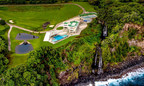 Hawaii's epic Waterfalling Estate features twin natural waterfalls, an olympic infinity pool, and tri-level ocean bluff compound.