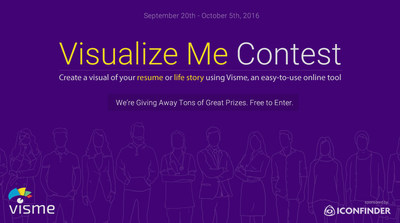 Create a visual of your resume or life story using Visme, an easy-to-use online tool. Visme is giving away $2,000 and other great prizes.
